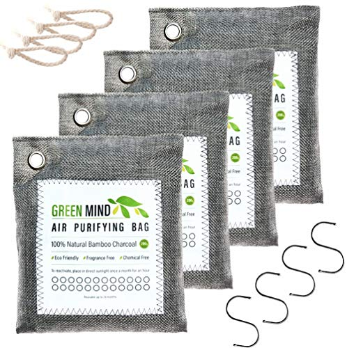 Green Mind Bamboo Charcoal Air Purifying Bags 4-Pack - Activated Deodorizer Odor-Absorber Smell Eliminator Naturally Freshen Air for Closet Basement Car Home RV - Kid and Pet Friendly, 4X200g