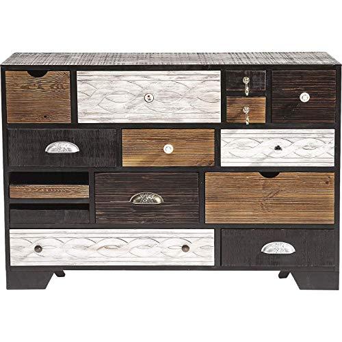 Kare Design Kommode Qunita 14 Schübe, modernes, schmales Sideboard, Kommodenschrank, braun-weiß (H/B/T) 80x114x35cm