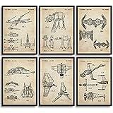 MONOKO® Star Wars - Juego de 6 pósteres de la guerra de las Galaxias, sin marco, patente, vintage, 6 x A3 (29,7 x 42 cm)