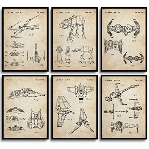 MONOKO® Star Wars Lot de 6 posters brevetés de la guerre des étoiles sans cadre (Set Starwars, breveté, vintage, 6 x A3 (29,7 x 42 cm)