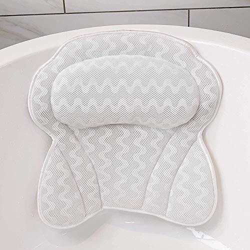 Hailong Ergonomisches Badekissen, Badewanne Spa-Kissen - rutschfeste 6 Große Saugnäpfe Für Perfekte Kopf- / Nacken- / Rücken- und Schulterstütze
