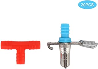20Pcs Rodent Nipples Drinkers Feeding Dispensers, Three Way Double Spring Rabbit Drinking Fountain Drinker Water Feeding Nipple Supplies Poultry Nipples Rabbit Supplies and Accessories (Red 3 Way)