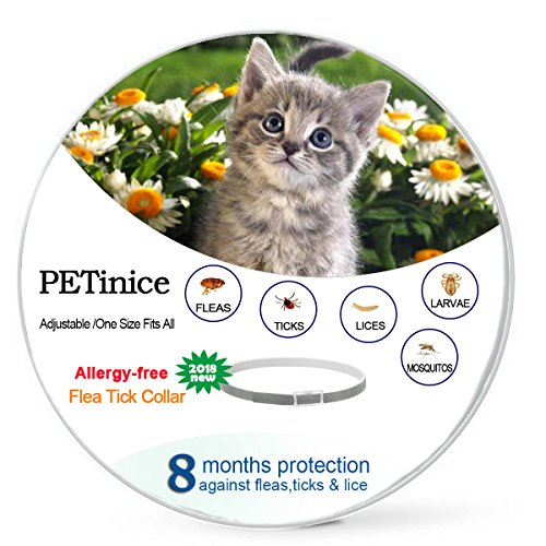 Flea and Tick Prevention for Cats,Flea Control for Cats-Prevents,Repels Fleas,Ticks & Lice Waterproof and Adjustable Cat Flea and Tick Control for 8 Month Protection,Gray(New Version)