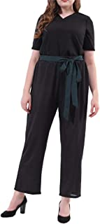554575e4439 Mono Fiesta Mujer SUNNSEAN Pantalones Elegante Manga Larga Talla Grande  Color Liso Negro Mono de Pierna