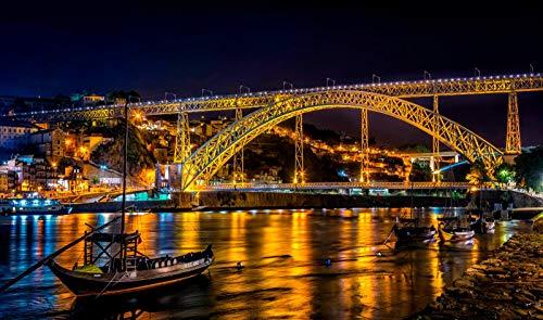 nonbranded Fai da Te 1000 Pezzi di Puzzle in Legno Portogallo Porto River Bridge Boat Street Light