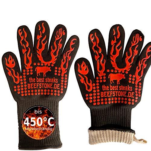 Beefstone Feuerfeste Handschuhe BBQ - Grillhandschuhe by 450°C hitzebeständige, waschbare Ofenhandschuhe/Kochhandschuhe/Backhandschuhe aus Silikon/Deyan-Faser/Baumwolle 34cm, 1 Paar