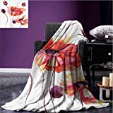 Stevenhome Floral Camp Chair Blanket Watercolor Painting Poppy Flowers and Buds Artistic Spring Nature Design Lightweight Blanket Peach Scarlet Purple