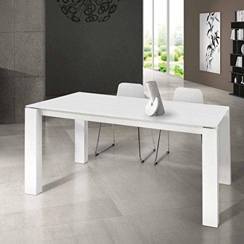 InHouse srls Table en Bois Blanc avec 2 rallonges cm. 45; Dimensions cm.160x90; avec rallonges cm.250x90