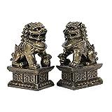 FOO Estatua de Perro, un par de Perros Fu Foo, Feng Shui Foo Dog Lion, China Tradicional Auspicioso Animal Resin, Ward Off Evil Energy
