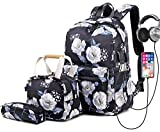 Wxnow Professional Laptop Backpack Women USB College School Bookbag Suitable 3 Pieces for Travel,Gym,School,Shoping,Yoga,Hiking,Beach Black