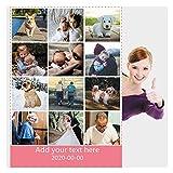 Haisimiery Manta de forro polar personalizada con foto personalizada, regalo de cumpleaños o boda para adulto bebé mascota 12 fotos NO.02 (Lapghan 100 x 150 cm)
