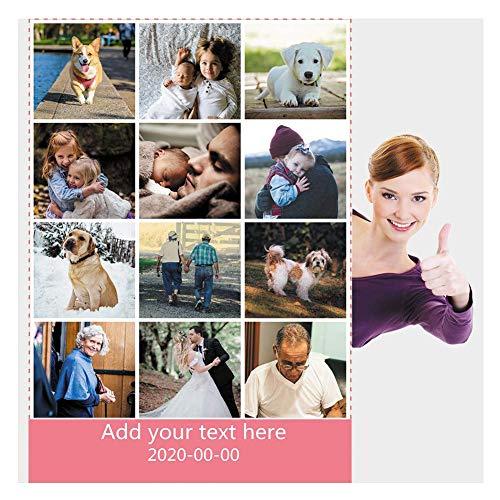 Haisimiery Manta de forro polar personalizada con imagen de cumpleaños regalo de boda para adultos bebé mascota 12 fotos NO.02 (100 x 150 cm)