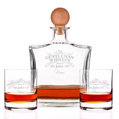 Herz & Heim® Gentleman Whiskey Set aus gravierter Karaffe mit 2 Whiskygläsern