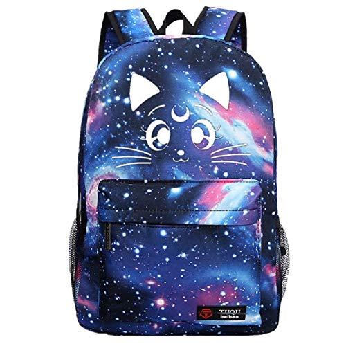YOYOSHome Luminous Japanese Anime Cartoon Cosplay Bookbag College Bag Backpack School Bag (Sailor Moon Blue)