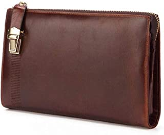 Lock Zipper Closure Business Mens Clutch Wallet Coffee Brown Real Leather Purse Hand Bag for Cell Phone (Color : Brown, Size : S)