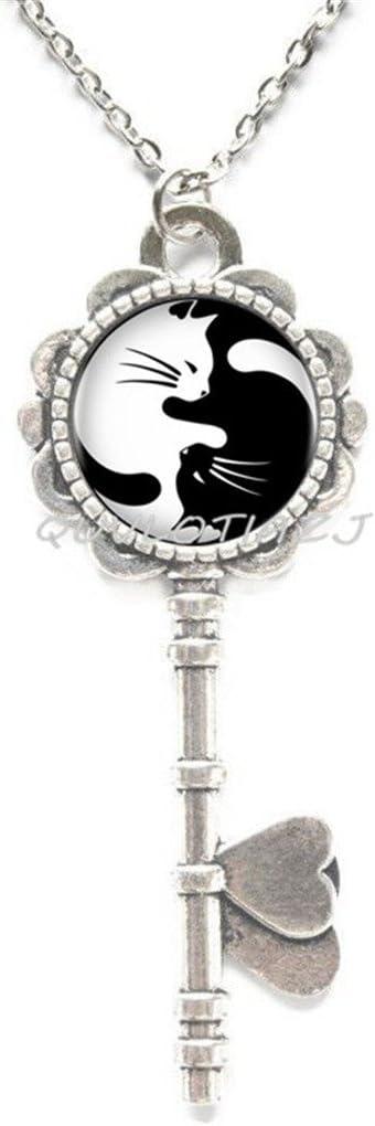 QUVLOTIAZJ FashionTwo Yin Yang Cats Necklace Pendant Cabochon Long Chain Statement Necklace Fashion Women Men,ot247