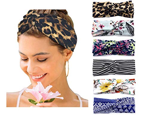 6 Pack Women's Headbands Boho Floral Print Turban Head Wrap Hair Bands (Set 3)