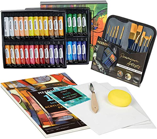 MEEDEN 64 Pcs Acrylic Painting Kit with 48x22ML Acrylic Paints, Acrylic Paintbrushes, Canvas Panel,...