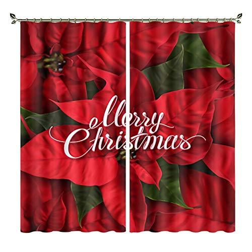 xszhqxxla Cortinas Opacas 2 Paneles, Cortina De Decoración con Estampado Floral Rojo De Navidad, para Sala De...