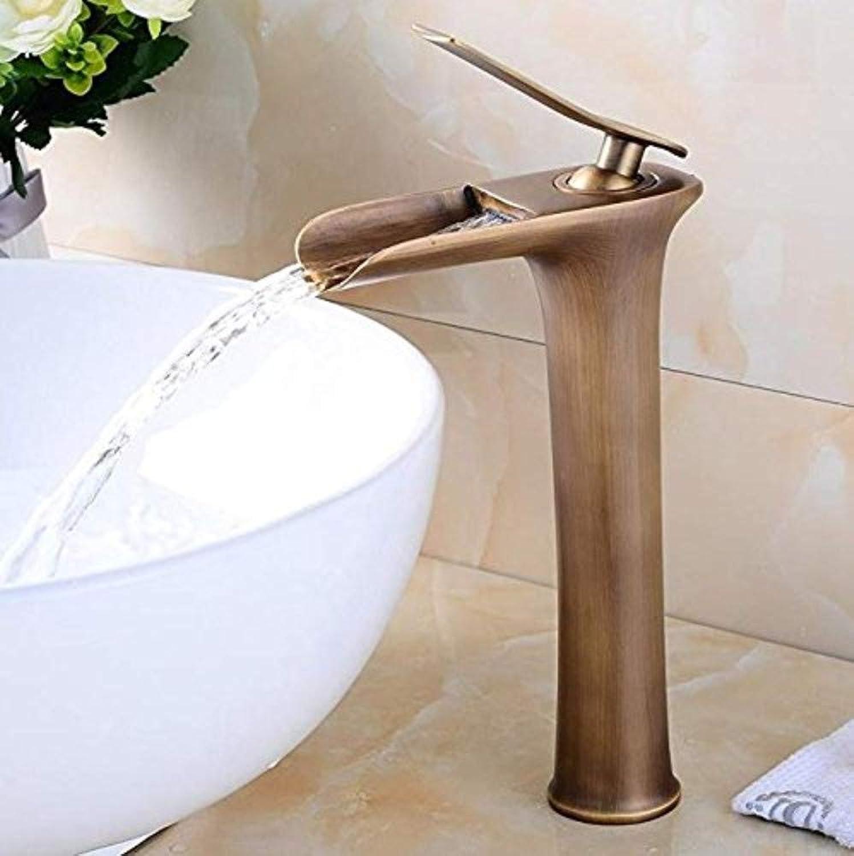 360° redating Faucet Retro Faucet Basin Faucet Lavatory Waterfall Spout Single Handle Bathroom Sink Vessel Faucet