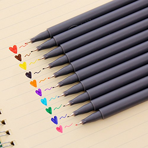 Petift Fineline Color Pen Set, Bullet Journal Planner Pens Colored Pens,0.38 mm Fine Line Drawing Pen,Porous Fine Tip Point Markers Perfect for Coloring Book and Bullet Journal Art Projects,10 Colors