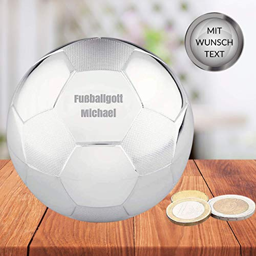 Smyla Fußball Spardose mit Gravur | Zeitlose Elegante Sparbüchse mit Wunsch-Text | versilbert und anlaufgeschützt, Ø 8,5cm