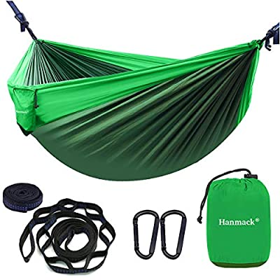 Double Hammocks,Camping Hammock with 2 Tree Straps and 2 Carabiners, Lightweight Nylon Parachute Portable Outdoor Hammock for Backpacking,Beach,Hiking,Garden,Easy Assembly Travel Hammock-Dark Green