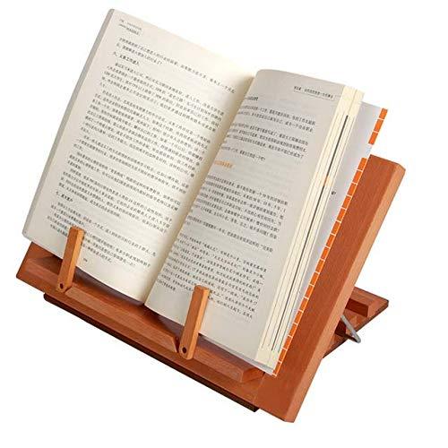 Bamboo Book Stand, Houten Boek & Tablet Rest, Cookbook het lezen van houder met 2 Metal Pagina Houders, Foldable & verstelbare standaard