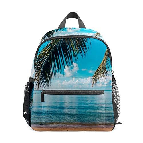 Backpack Student Bookbag for Kids Girls Boys,Tropical Beach Sea Casual Daypack School Travel Bag Organizer Gift