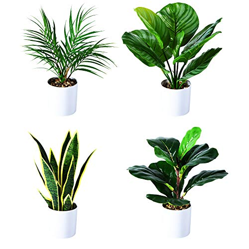 Kazeila Plantas Artificiales, 40 cm Monstera/Planta de Serpiente/Palma Areca/Planta de Rayas Verdes en Maceta para Interior Exterior casa hogar Oficina decoración Moderna (Juego de 4)