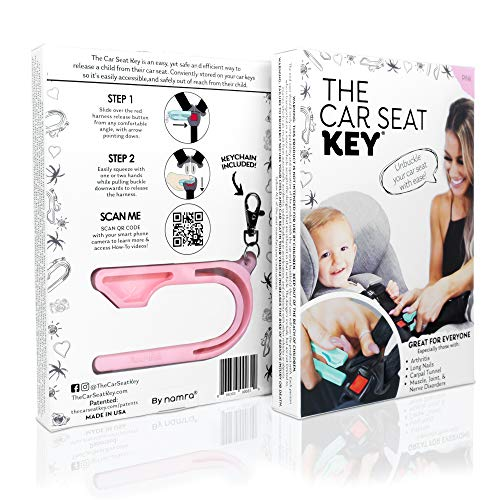 The Car Seat Key - Easy CAR SEAT UNBUCKLE by NAMRA Made in USA (Pink)