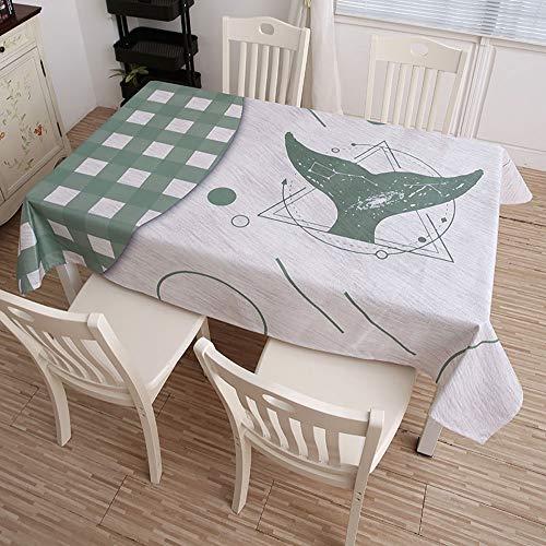 HYXXQQ Wasbaar katoenen linnen doek/rechthoekig tafelkleed, gemakkelijk schoon te maken en niet vervormd, zeer geschikt voor keukenblad Buffet Decoratie