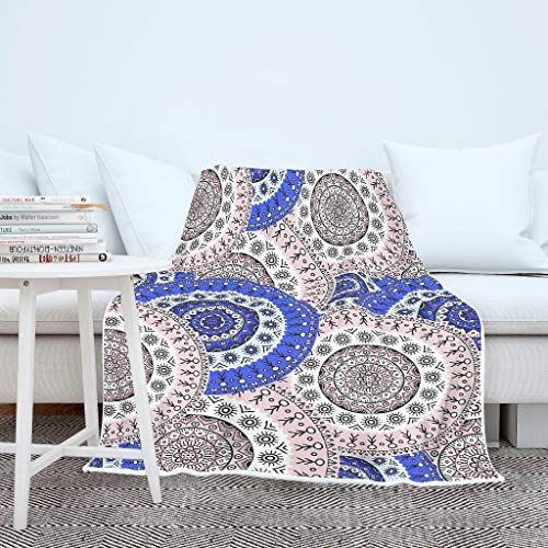 AXGM Men's and Women's Cuddly Blanket Bedspread Pink Blue Circles Print Throw Soft Camping Blanket White 150 x 200 cm
