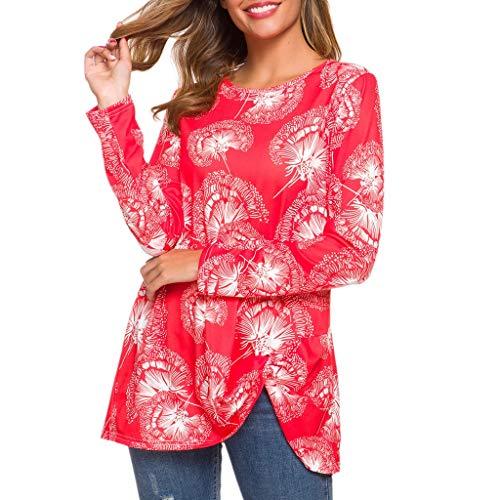 LOPILY Damen Oberteile Blumen Druck Bluse Asymmetrisch Hippie Bunte Oberteile Bluse Damen Bluse Langarm Elegant Freizeit Tunika Frauen T-Shirt Herbst