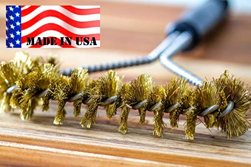 Backyard Dudes BBQ Grill Cleaning Brass Brush 12' -Made in USA -Heavy Duty Real Brass Extra Wide Two Levels of bristles are Soft Safe for Porcelain Enamel grates (12 Inches)