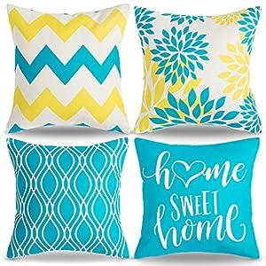 AkcentPillo Azul y Amarillo Funda de Cojine 45x45 Modernas Decoracion Cojines Sofa Lino Cojines Sillas Jardin para el Sofá del Dormitorio del Hogar