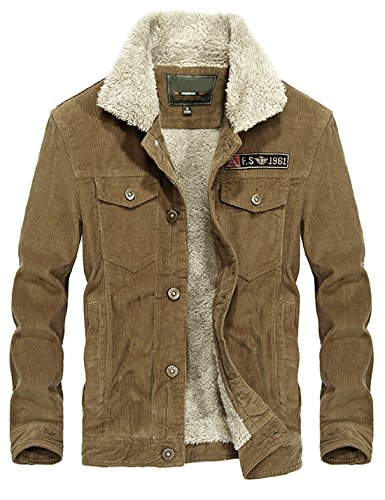 Mens Vintage Slim Sherpa Lined Shearling Khaki Corduroy Trucker Jacket