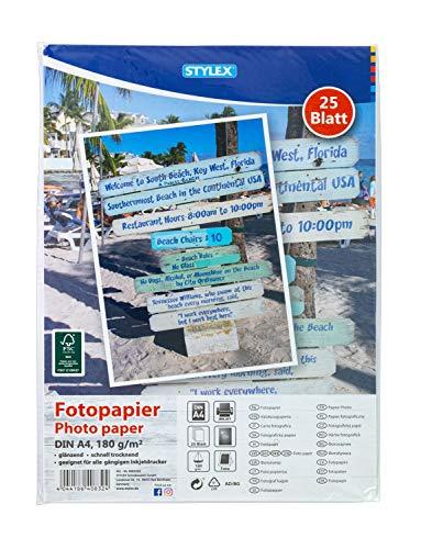 Stylex 40832 - Fotopapier, DIN A4, 25 Blatt, 180 g/m², glänzend, schnelltrocknend, geeignet für alle gängigen Inkjetdrucker