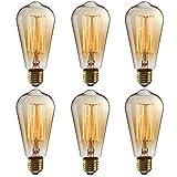Ampoule LED Edison E27, 6 pack Ampoule Edison Vintage Ampoules à incandescence ST64 6W (équivalent 60W) Rétro Ampoule Filament Lampe Decorative pour Restaurant, Café, Windows, Showrooms - Blanc Chaud