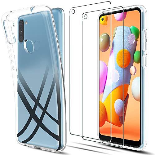 LK Hülle für Samsung Galaxy A11,[rutschfest] Schlanker Weiche Flex Silikon TPU Schutzhülle Case Cover mit Panzerglas Folie[1 Stück] für Samsung Galaxy A11 - Transparent