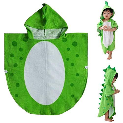 Vioyo kinderbadhanddoek met capuchon, voor strand, poncho, motief dinosaurus, groen + wit, 55 cm x 110 cm