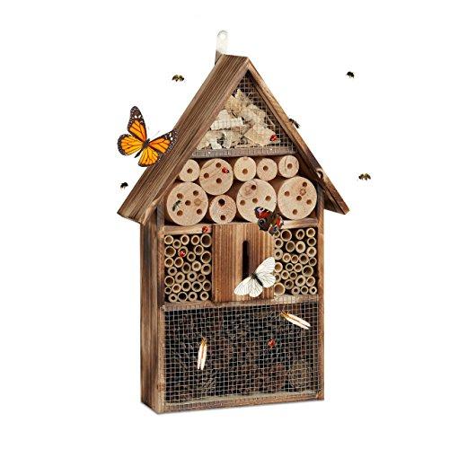 Relaxdays, nature Hôtel à insectes en bois brûlé 50 cm à sus