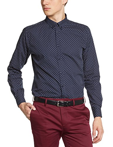 Merc of London SIEGEL, Shirt,Long Sleeve, Polka Dot Chemise habillée, Bleu (Navy), X-Large (Taille Fabricant: XL) Homme