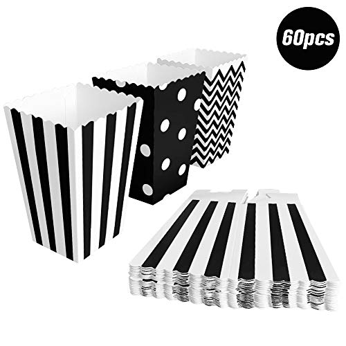 BangShou 60pcs Cajas de Palomitas Cartón Caramelo Contenedor Cine Pequeñas Cajas de Palomitas de Maíz 12 x 7.5cm (Negro)