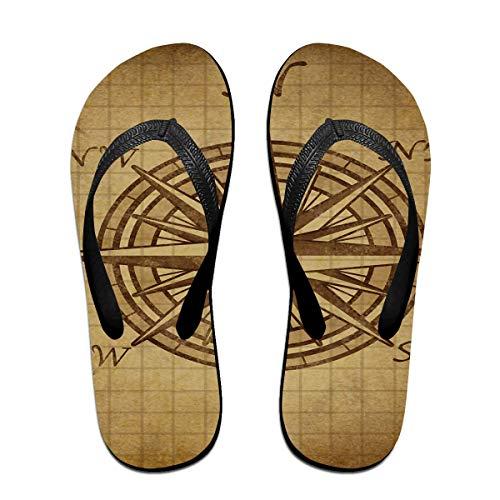 Vintage Nautical Compass Unisex Erwachsene Casual Flip-Flops Sandale Pool Party Hausschuhe Badezimmer Wohnungen Open Toed Slide Schuhe S