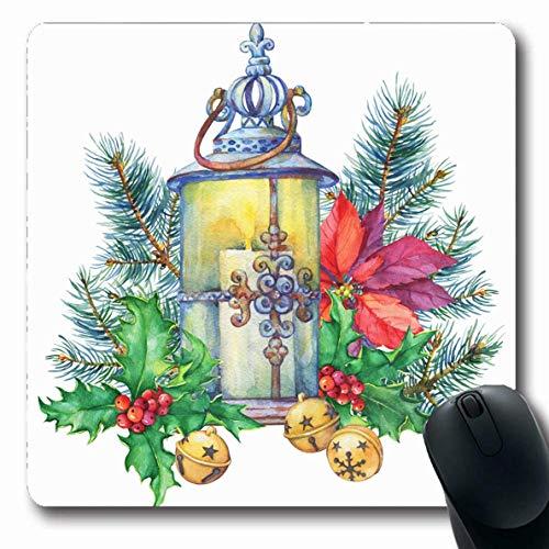 Jamron Mousepad OblongWatercolor Kerze Weihnachtsbaum Holly Poinsettia Holidays Vintage Fee Aquarell Aquarel Bell rutschfeste Gummi Mauspad Büro Computer Computer Laptop Mat