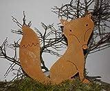 Rostikal | Edelrost Fuchs Figur für Garten und Indoor | Rost Gartendeko aus Metall | 30 cm hoch