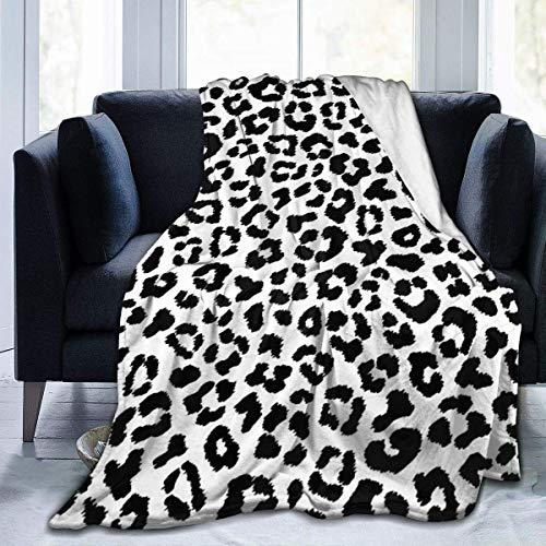 wobuzhidaoshamingzi zwart-wit luipaardvachtdeken, pluizige deken, dekbed, knuffelige dekens, sofadeken, dik vlies