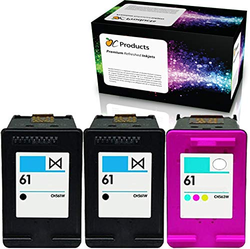 OCProducts Refilled Ink Cartridge Replacement for HP 61 for Envy 4500 5530 Deskjet 1010 3050 2540 2050 Officejet 2620 Printers (2 Black 1 Color)