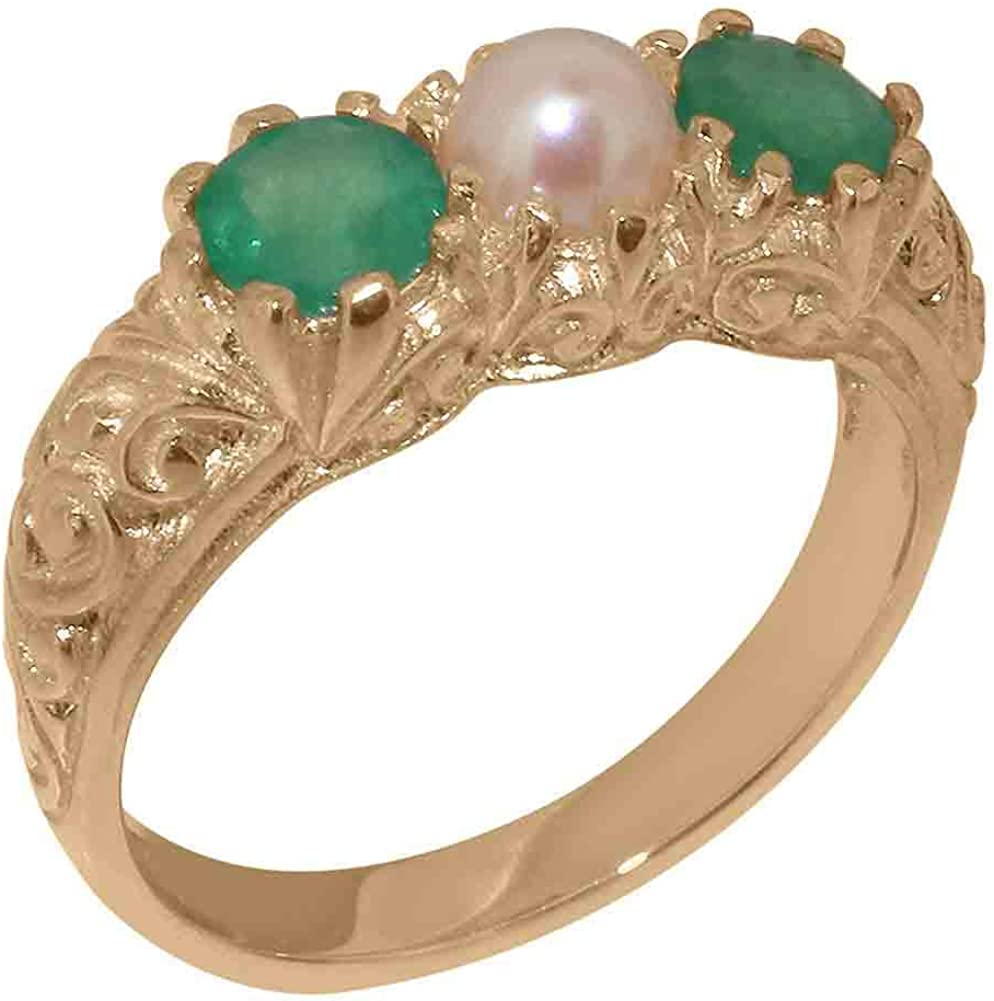 14k Rose Gold Cultured Pearl & Emerald Womens Trilogy ring - Sizes 4 to 12 Available